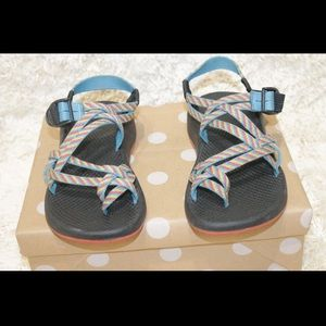 Chaco Strappy Sport Rainbow Striped Sandals
